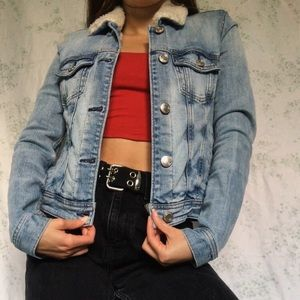 fuzzy light wash denim jacket